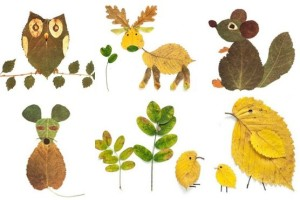Animals made out of Autumn Leaves