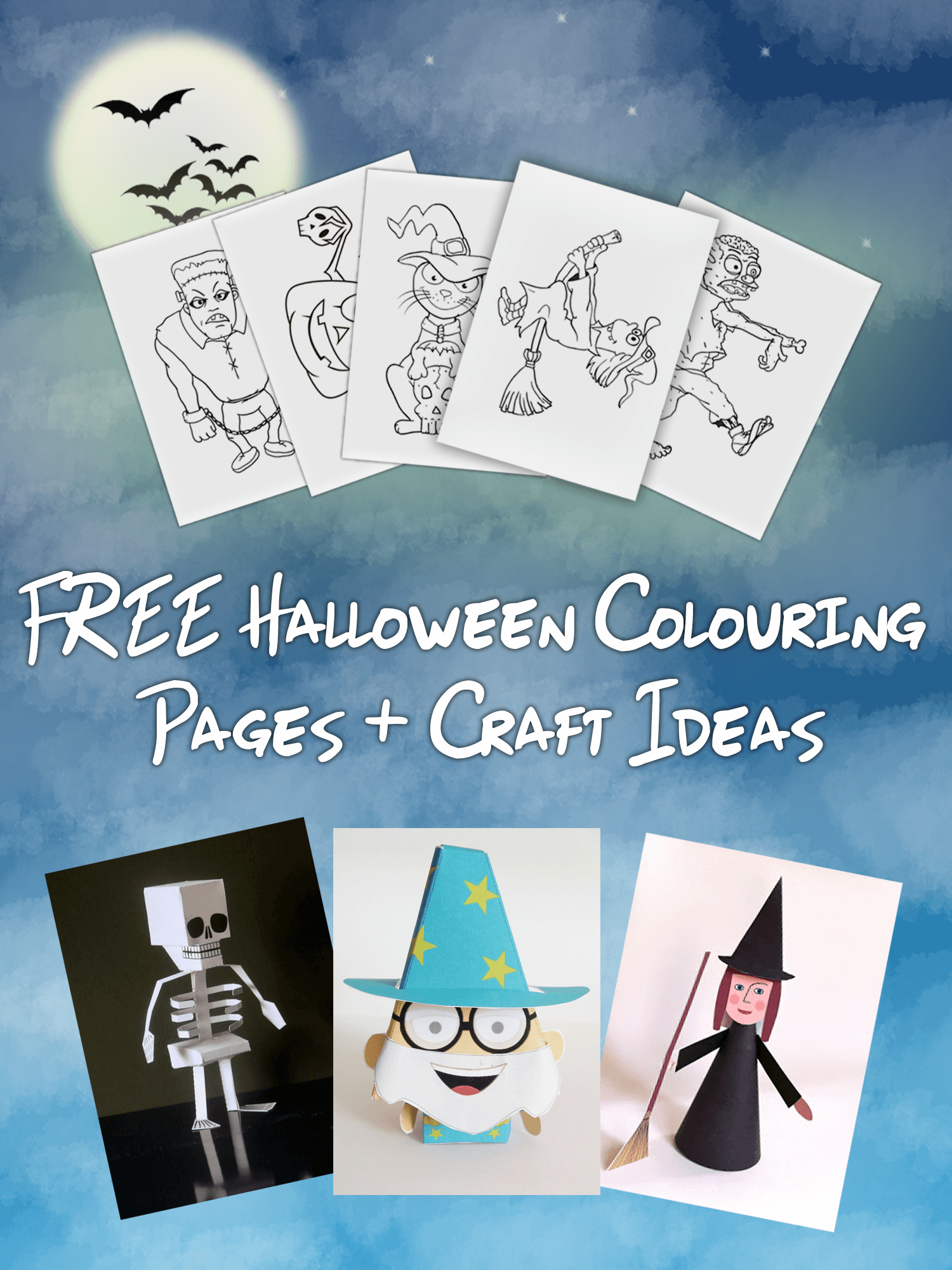 Free Halloween Colouring Pages Paper Craft Ideas