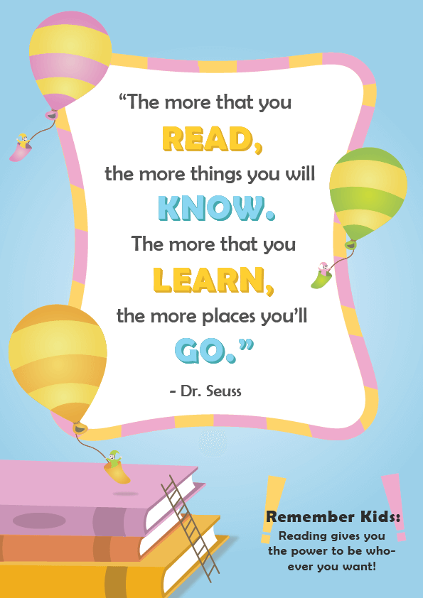 Dr. Seuss Quotes about Reading _ the more your read _ imagine forest