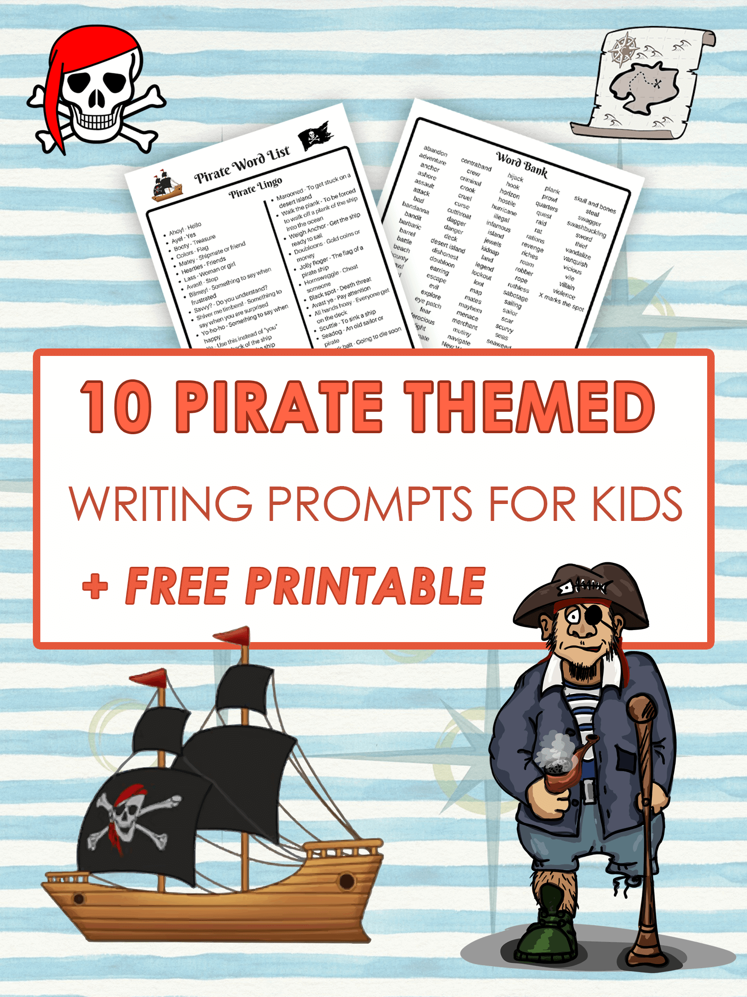 10 Pirate Themed Writing prompts for kids _free Printable_imagine forest