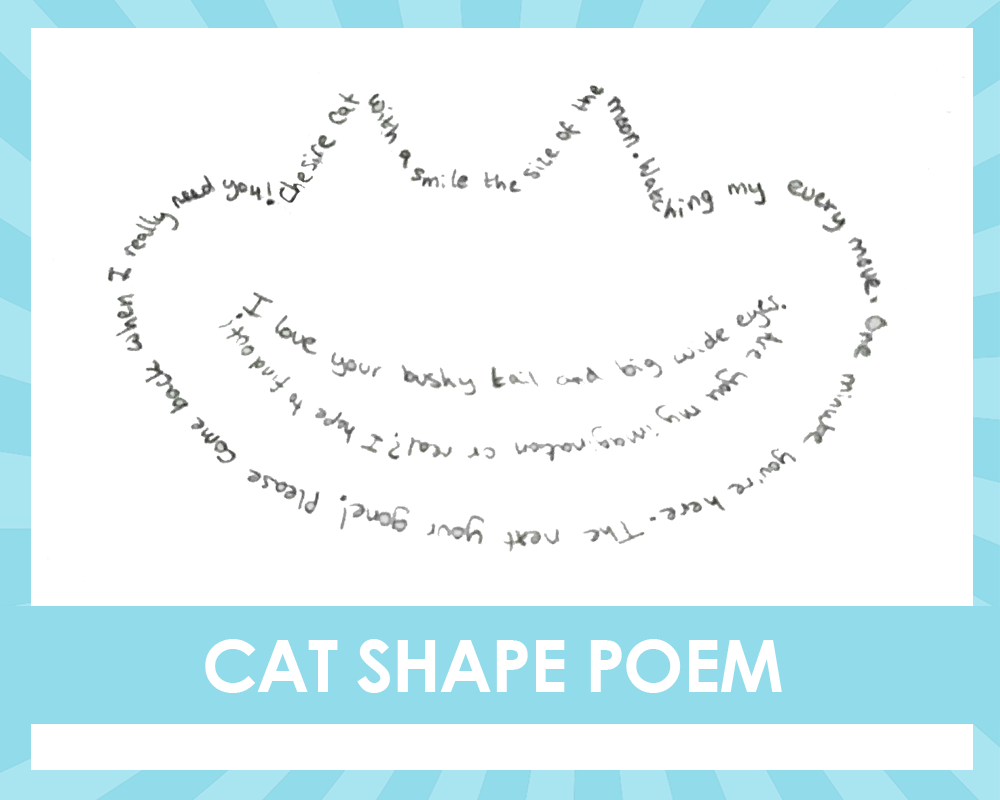 Alice in the wonderland shape poetry writing activity cat shape poem
