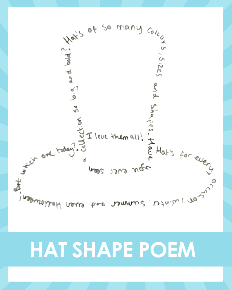 Alice in the wonderland shape poetry writing activity hat shape poem