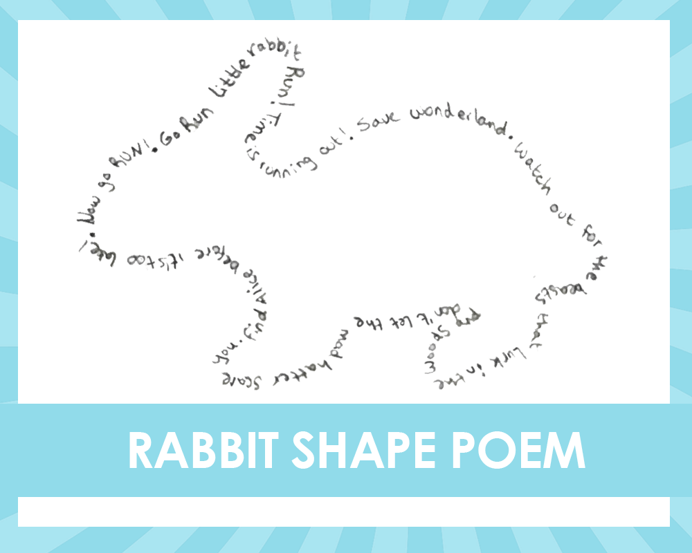 Alice in the wonderland shape poetry writing activity rabbit shape poem