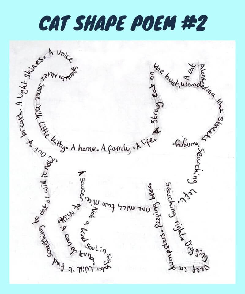 Cat Shape Poem Example