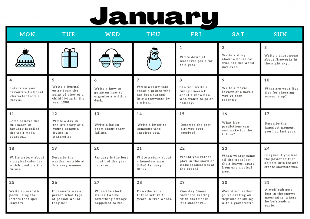January writing prompts printable