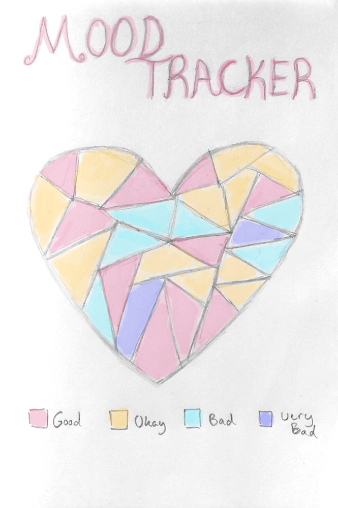 february bullet journal idea - heart mood tracker