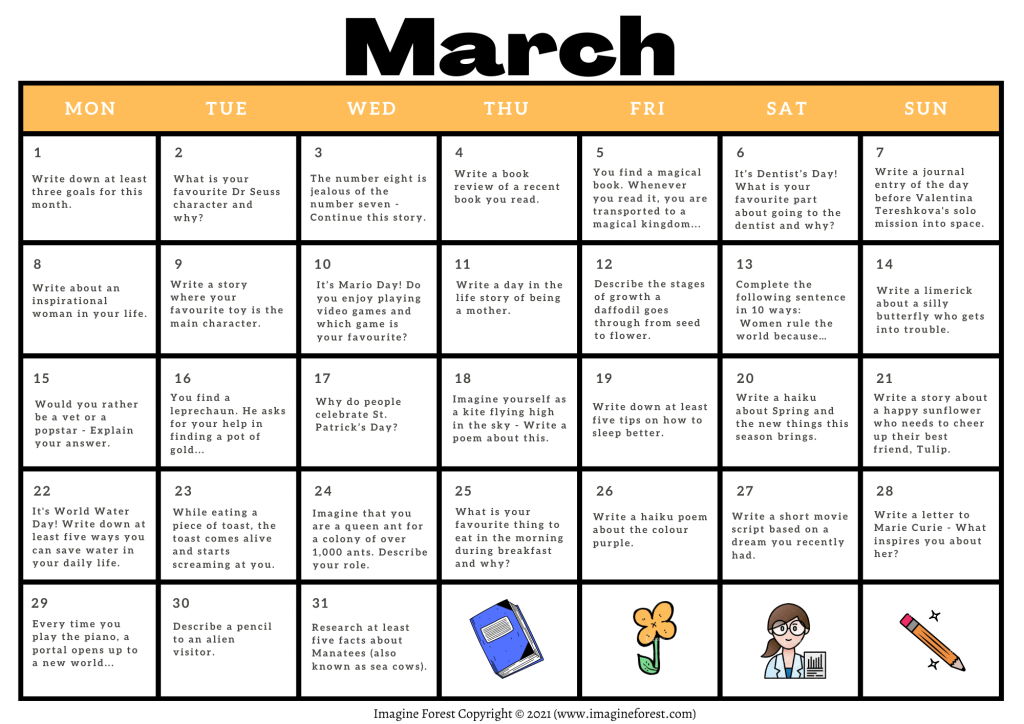 March Writing Prompt Calendar Printable