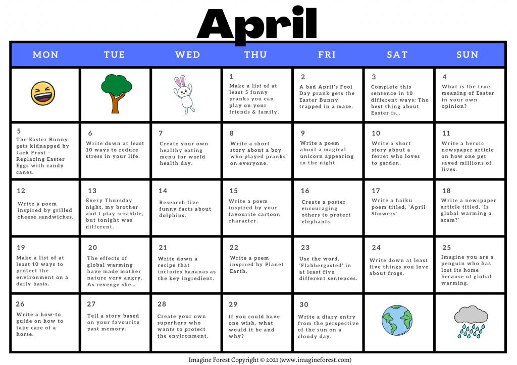 April Writing Prompt Calendar Printable