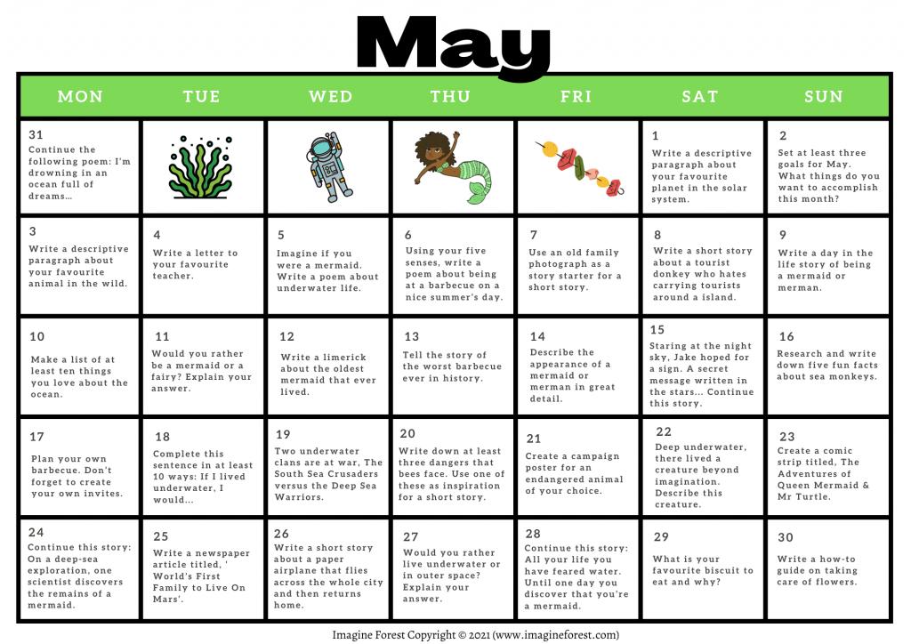 May Writing Prompts Calendar Printable 2021