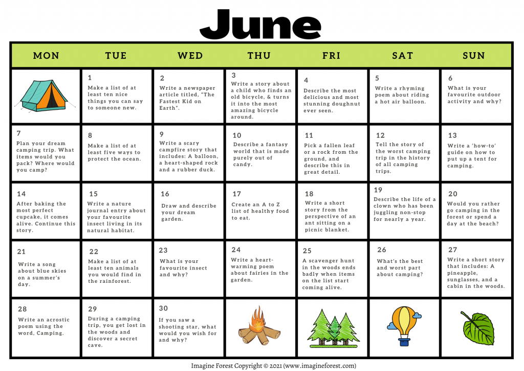 June Writing Prompts Calendar Printable