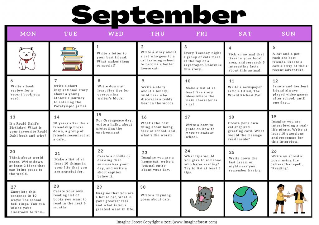 September Writing Prompts Calendar Printable