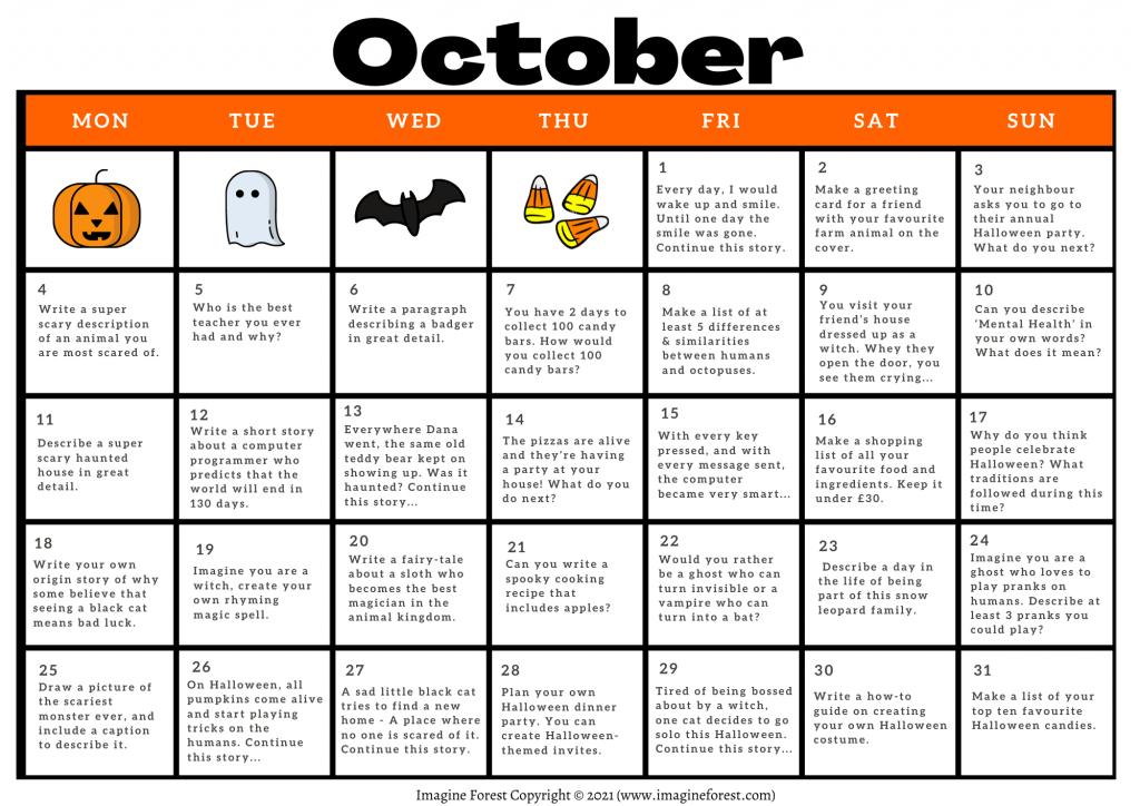 October Writing Prompts Calendar Printable