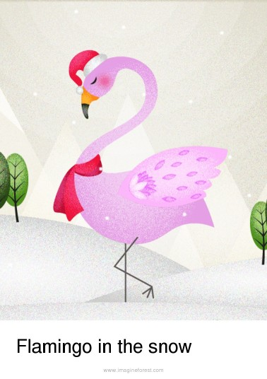 Flamingo in the snow